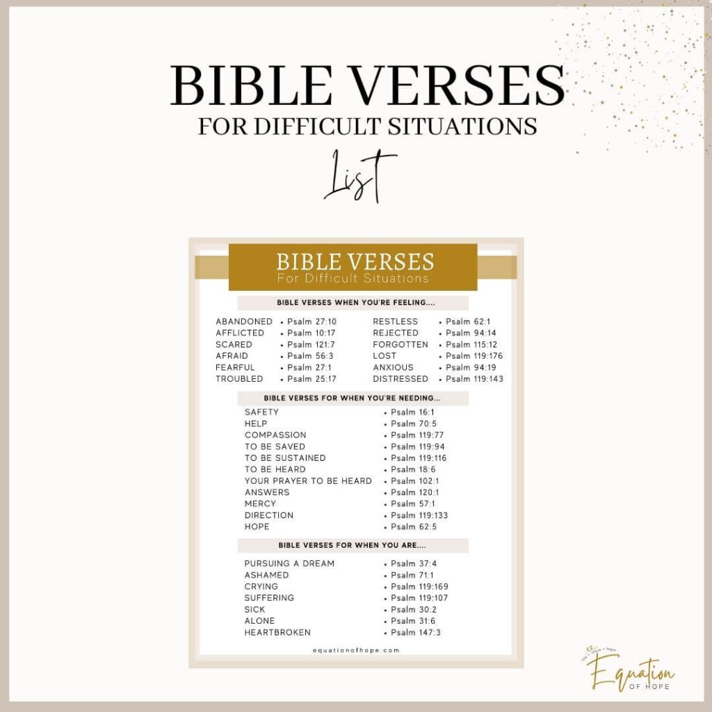 bible verses for difficult situations printable